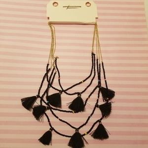 American Eagle Beaded Tassle Multi Strand Necklace